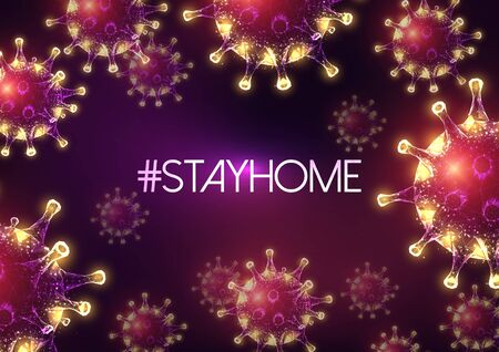 Stay at home hastag inspiration surrounded by coronavirus molecules on dark purple background.