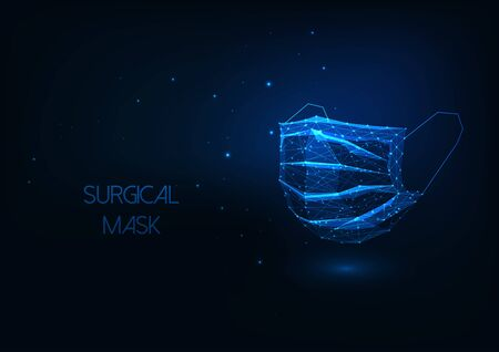 Futuristic medical surgical protective facial mask isolated on dark blue background. Ilustracja