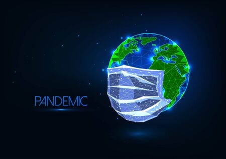 Futuristic covid-19 coronavirus Pandemic global concept with glow low poly medical mask covers earth