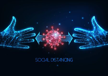 Futuristic social distancing during coronavirus pandemic concept with glowing low poly human hands
