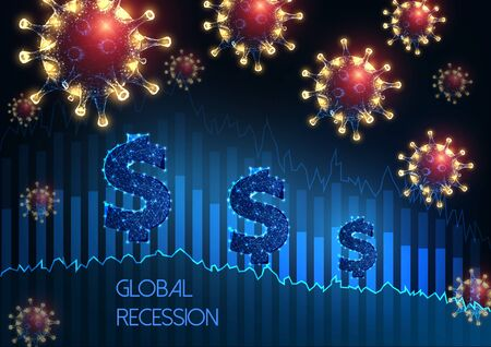 Global economy recession due to coronavirus Pandemic crisis concept