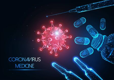 Futuristic antiviral coronavirus covid-19 medicine concept with virus, vaccine, pills and syringe