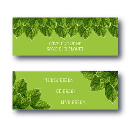 Happy Earth Day web banners set with bright green leaves frames and motivational quotes on green background. Environmental protection concept. Vector illustration.