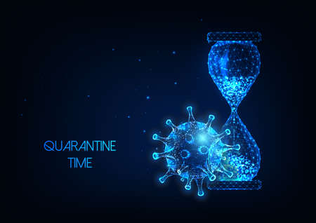 Futuristic quarantine time during coronavirus pandemic concept with glow low poly hourglass and virus