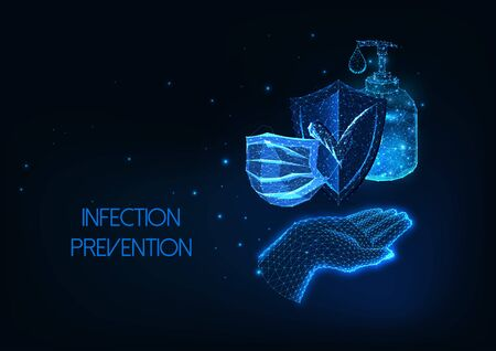Futuristic coronavirus infection protection concept with glowing hand, mask, sanitizer and shield