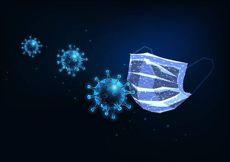 Futuristic glowing low polygonal medical protective mask and coronaviruses on dark blue background Ilustracja