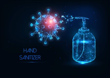 Futuristic glowing low polygonal hand sanitizer bottle against coronavirus banner