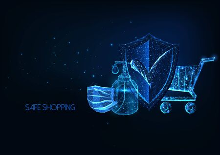 Futuristic safe shopping during coronavirus pandemic quarantine concept