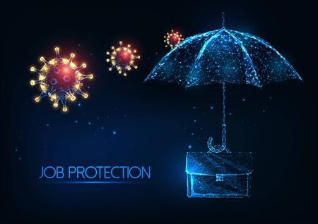Futuristic Job protection during coronavirus pandemic with glowing low polygonal suitcase, umbrella, viruses Ilustracja