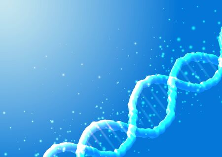 Futuristic scientific genetic engineering banner with glowing DNA on blue background. Biotechnology research. Vector illustration.
