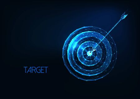 Futuristic success, goal concept with glowing low polygonal target and arrow Ilustracja