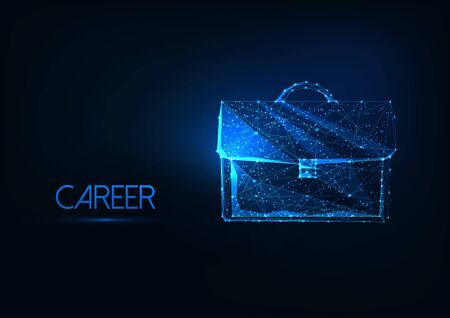 Futuristic business career concept with glowing low polygonal brief case on dark blue background.