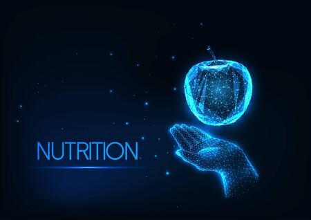 Futuristic healthy diet, nutrition concept with glowing low polygonal human hand holding apple isolated on dark blue background. Modern wire frame mesh design vector illustration.
