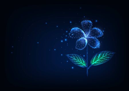 Futuristic glowing low polygonal flower isolated on dark blue