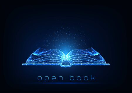 Futuristic glowing low polygonal open book isolated on dark blue