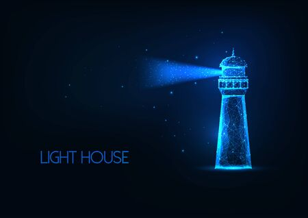 Futuristic glowing lo polygonal lighting house with light beam isolated on dark blue background. Ilustracja