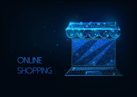 Futuristic online shopping concept with glowing low polygonal laptop