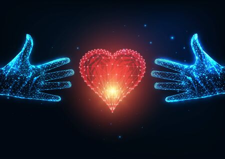 Futuristic love concept with glowing low polygonal two human hands trying to reach a red heart Ilustracja