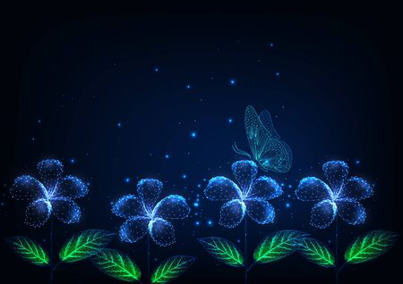 Futuristic glowing low polygonal beautiful flowers and butterfly at night landscape