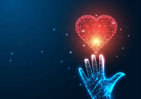 Futuristic love concept with glowing low polygonal female hand reaching red heart on dark blue background. Modern wire frame mesh design vector illustration.