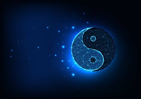 Futuristic glowing low polygonal yin yang symbol isolated on dark blue space