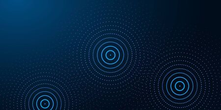Futuristic abstract banner with abstract water rings, ripples on dark blue background.