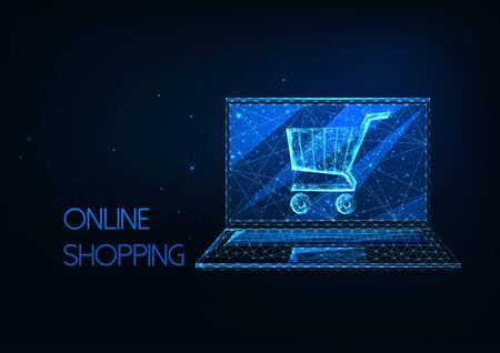 Futuristic online shopping concept with glowing low polygonal laptop and shopping cart i Ilustracja