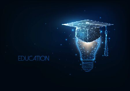 Futuristic academic education, graduation concept with glowing low polygonal graduating cap and light bulb Ilustracja