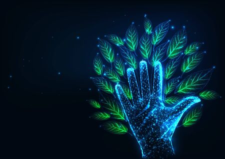 Futuristic environmental responsibility concept with glowing low poly tree made of hand and leaves Ilustracja