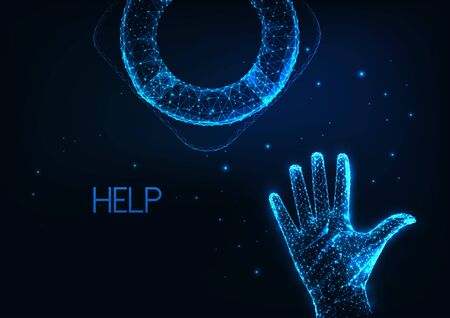 Futuristic economic help, crisis support concept with glowing low polygonal human hand reaching lifesaver life buoy Reklamní fotografie - 149689762