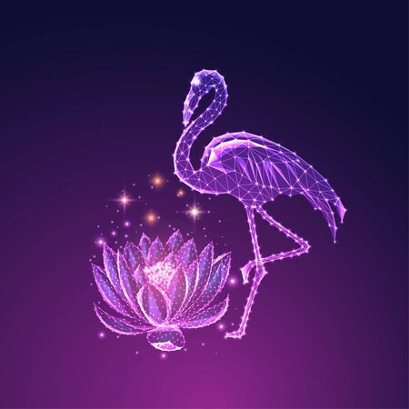 Futuristic glowing low polygonal beautiful standing flamingo and lotus flower