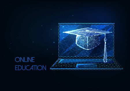 Futuristic online education, distance learning concept with glowing low polygonal graduation cap and laptop Ilustracja