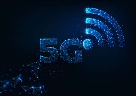 Futuristic 5g wireless internet connection innovative technologies concept with glowing low polygonal 5g an WiFi symbols in dark blue background. Modern wire frame mesh design vector illustration.