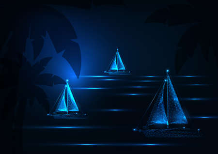 Futuristic yachting regatta concept with glowing low polygonal sailing boats competition in night tropical sea landscape on dark blue background. Modern wire frame mesh design vector illustration.
