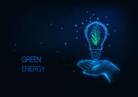 Futuristic green, renewable energy concept with glowing low polygonal human hand holding light bulb with green leaf inside on dark blue background. Modern wire frame mesh design vector illustration. 스톡 콘텐츠 - 151315669