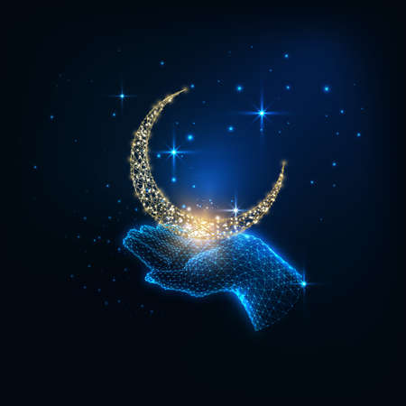 Futuristic mystic concept with glowing low polygonal female hand holding golden crescent moon and sparkling stars on dark blue background. Modern wire frame mesh design vector illustration. Reklamní fotografie - 151419096