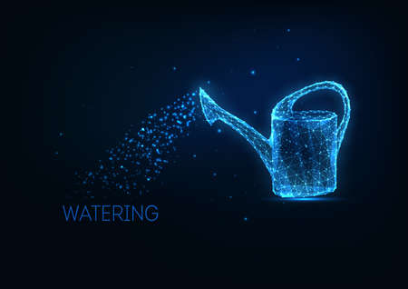 Futuristic glowing low polygonal watering can isolated on dark blue background. Growth, plant, environment care, gardening concept. Modern wire frame mesh design vector illustration.