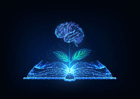 Futuristic knowledge, education, creativity concept with glowing low polygonal open book and plat with brain as a flower on dark blue background. Modern wire frame mesh design vector illustration.
