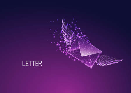 Futuristic fast delivery, express postage concept with glowing low polygonal envelope with wings isolated on dark purple background. Modern wire frame mesh design vector illustration. Ilustracja