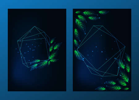 Modern set of posters, invitations templates with geometrical frames, green leaves on dark blue 스톡 콘텐츠 - 152951682