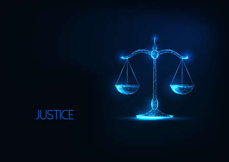 Futuristic justice, law judgement concept with glowing low polygonal balance scales. Ilustrace