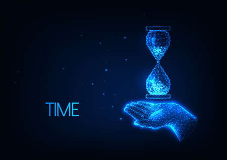 Time management concept with glowing low polygonal hand holding hourglass Ilustrace