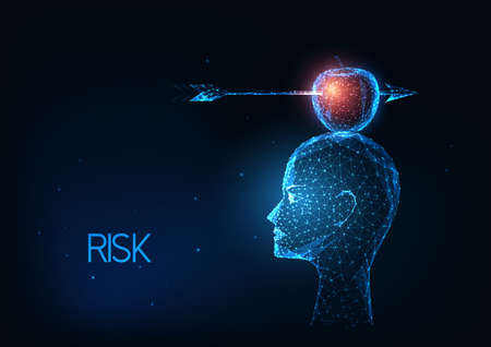 Futuristic risk management, business concept with glowing low polygonal head with apple and arrow