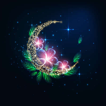 Futuristic glowing low polygonal golden crescent moon decorated with pink flowers and green leaves Ilustrace