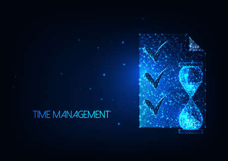 Futuristic time management concept with glowing low polygonal hourglass and planning list document