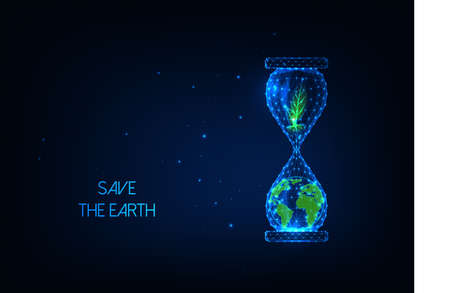 Futuristic Save the Earth environment concept with glowing low poly hourglass with planet, plant 스톡 콘텐츠 - 153295109