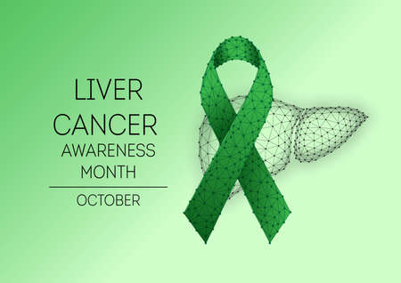 Futuristic Liver cancer awareness month, October banner with low polygonal green ribbon and human liver Ilustrace