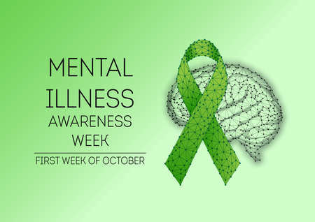 Futuristic Mental illness awareness week banner with low polygonal green ribbon and brain