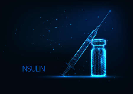 Futuristic diabetes treatment with insulin concept with glowing low polygonal vial and syringe