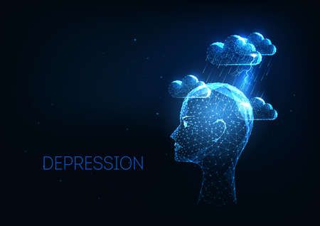 Futuristic depression, mental health disorders concept with low polygonal human had and clouds Ilustrace